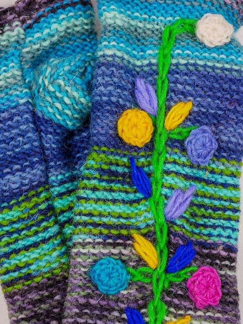 Karma Gear Folk Floral Embroidered Handwarmers Handmade and Fairly Traded from Nepal