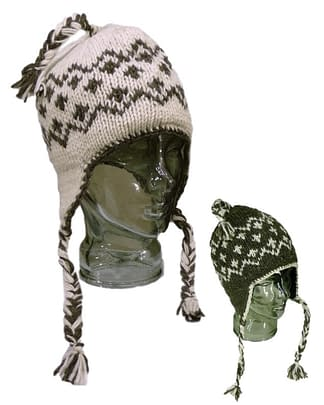 classic diamond pattern brown fleece natural knitted hat