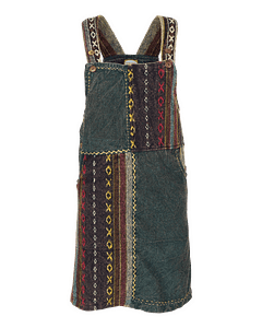 Karma Gear - Delectable Dungaree Dress NG1411.17 Bottle Green Handmade and Fairly Traded from Nepal