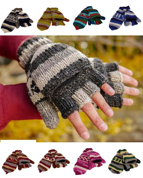 Karma Gear Fingerless Gloves to Mittens Fleece Lined Handmade and Fairly Traded from Nepal gallery