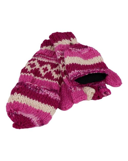 Karma Gear Fingerless Gloves to Mittens Fleece Lined Handmade and Fairly Traded from Nepalv
