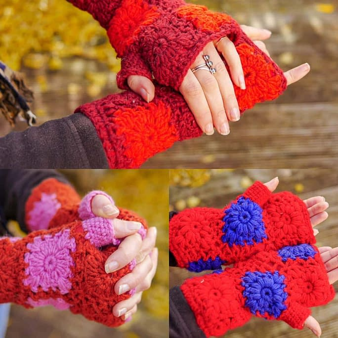 Karma Gear Crochet Hand Warmers Reds Handmade and Fairly Traded from Nepal