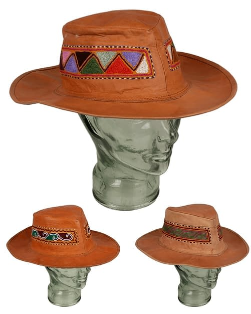 Karma Gear Embroidered Leather Hat Handmade and Fairly Traded from India