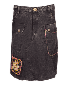Karma Gear Embroidery Jean Skirt NG1909 Handmade and Fairly Traded from Nepal with Love Black 1