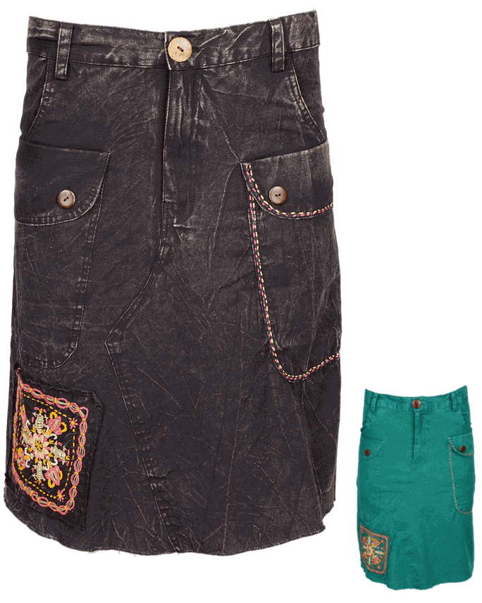 Karma Gear Embroidery Jean Skirt NG1909 Handmade and Fairly Traded from Nepal with Love
