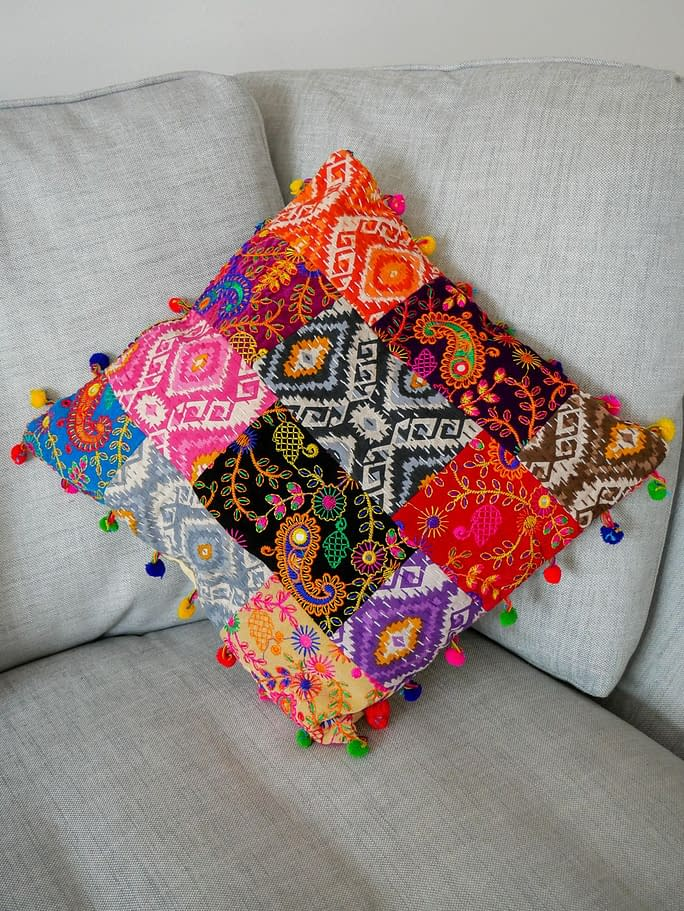 Karma Gear Embroidered Cushion Cover Handmade and Fairly Traded from Nepal Vegan