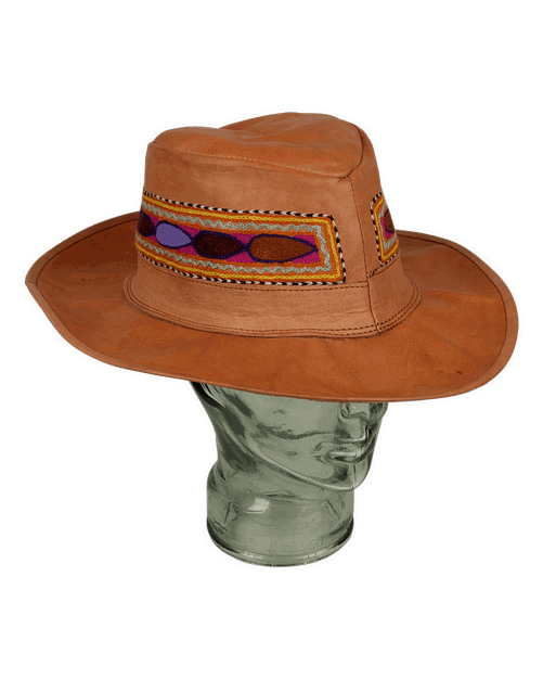 Karma Gear Embroidered Leather Hat Handamde and Fairly Traded from India
