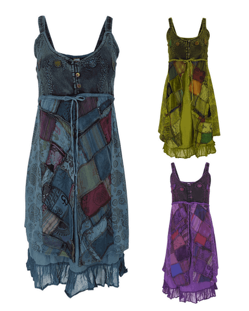 Karma Gear Button Patchwork Festival Dress Handmade and Fairly Traded from Nepal